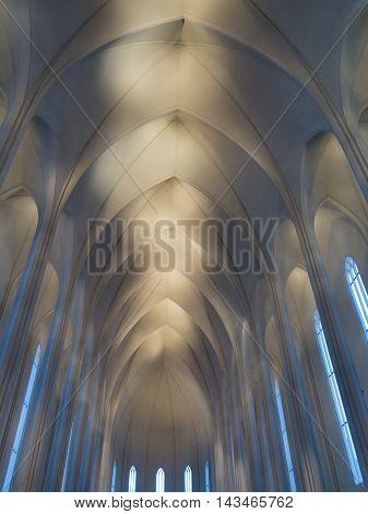 The magnificent high ceilings inside Hallgrimskirkja Church