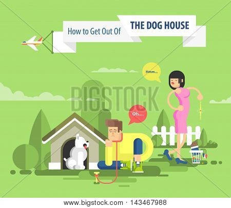 Stock vector illustration of sad man sits beside a dog at the doghouse on leash and dissatisfied woman throwing presents in garbage, plane flies with advertising sign over married couple in flat style