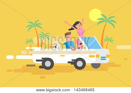 Stock vector illustration happy guy drives white convertible, man and joyful brunette woman with their dog rush by car among palm trees on yellow background, cheerful couple on vacation in flat style