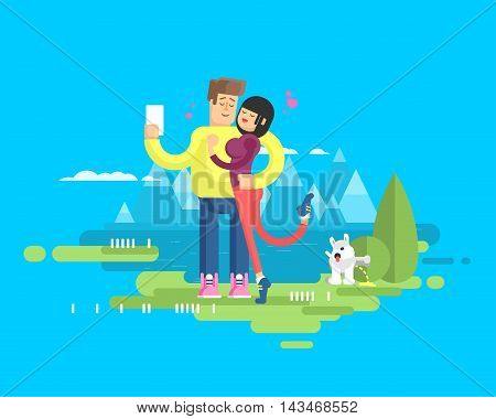 Stock vector illustration of happy married couple on vacation, man and woman embrace and make selfie on background of lake and snow-capped mountains, dog tags territory and pissing on bush, flat style