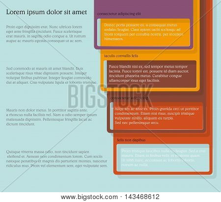 Infographics. Four consecutive frame elements of different colors with lots of room for text and descriptions.