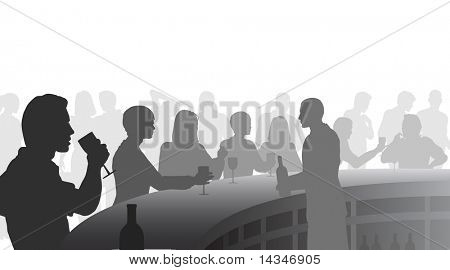 Editable vector silhouettes of people in a wine bar with all figures as separate objects