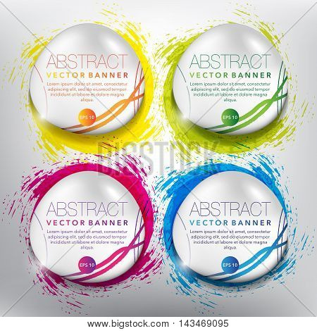 Set of 4, round pebble stones on the hand-drawn watercolor design with realistic light and shadow on the white background. Each item contains space for own text. Vector illustration. Eps10.
