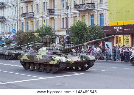 Kiev Ukraine - 19 August 2016: Tank troops preparing for parade at Kreschatyk street which will take place on the 24-rd of August dedicated to the 25-th anniversary of Independence of Ukraine.
