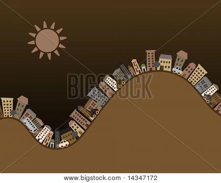 Editable vector illustration of cartoon buildings with copy-space