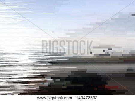 Glitch vector background. Digital decay image data distortion. Interference on the TV screen and monitor. Pixel effect