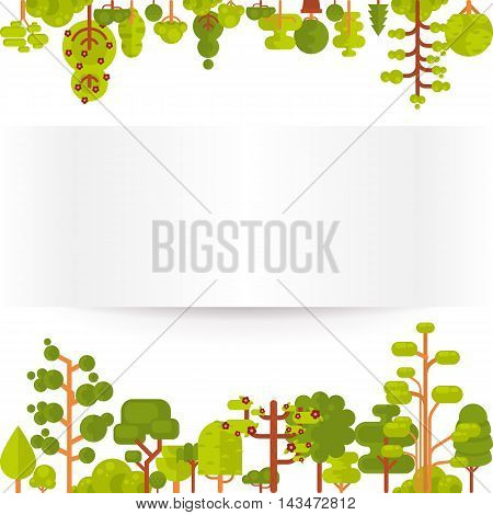Stock vector illustration of green trees and bushes on a white background in a flat style with bare banner or strip of paper for Environmental Design, eco style, ecology