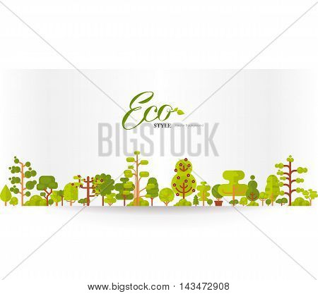 Stock vector illustration of banner or strip of paper with lettering, green trees and bushes on a white background in a flat style for Environmental Design, eco style, ecology