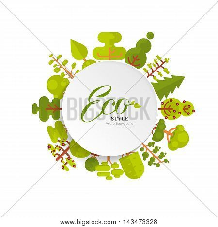 Stock vector illustration of bare circle banner or round sticker with lettering, trees and bushes located along the rim on a white background in flat style for Environmental Design, eco style, ecology