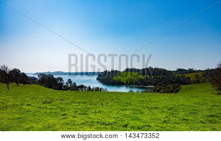 View of Channals Creek of the River Fal in Cornwall UK