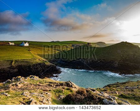 Coastline at sunset of northern Cornwall near Portquin in England