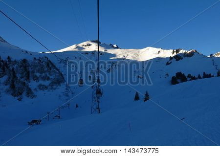 Cable-car going to Prodkamm Flumserberg. Ski area in Switzerland.