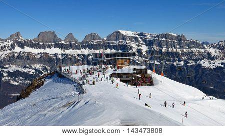 Summit station Prodkamm Flumserberg ski area. Churfirsten Range. Winter scene in Switzerland.
