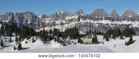 View from the Flumserberg ski area Switzerland. Churfirsten Range.
