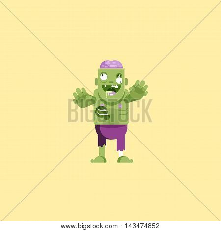 Stock vector illustration zombie character with brains for halloween in a flat style