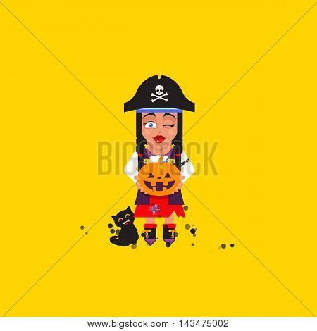 Stock vector illustration a pirate girl character for halloween in a flat style