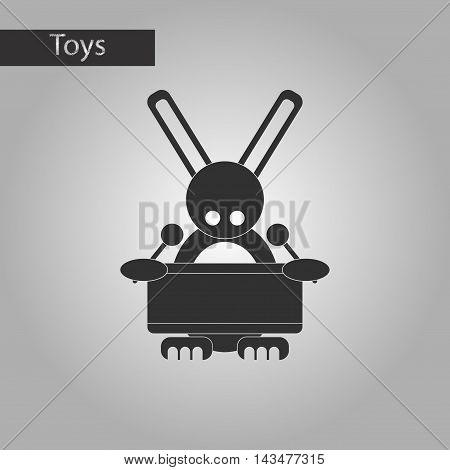 black and white style Kids toy rabbit drummer