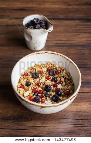 Homemade granola or muesli with oat flakes, corn flakes, dried fruits and toasted peanuts with fresh berries in a bowl, selective focus