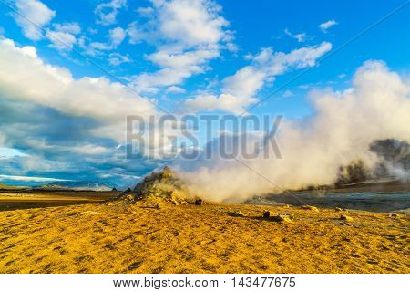 Steaming fumaroles at Hverir geothermal area in north Iceland