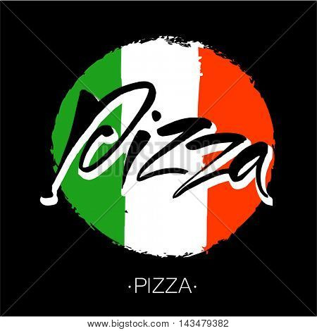PIZZA hand-lettering calligraphy. Italian pizza - design template for pizzerias, restaurants, cafes, brand name, logo, pizzafest. Hand drawn vector stock illustration. Modern brush ink.