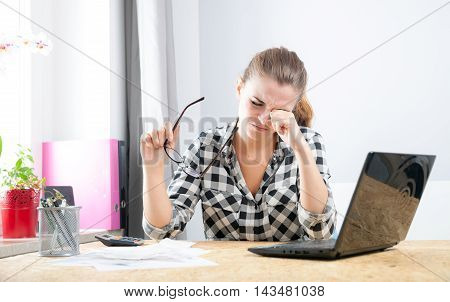 Tired Woman With Eye Pain During Working In Home Office