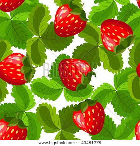 Seamless pattern with strawberry and leaves. Background for your design with bright contrasting red berries and green leaves. Vector illustration.