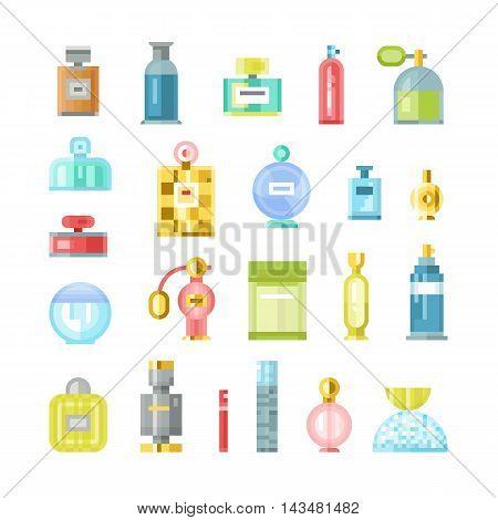 Set of vector perfume fashion container smell spray pixel art. Vector illustration perfume shop symbols elegant merchandise gift. Beauty liquid luxury fragrance aroma perfume bottle aromatherapy.