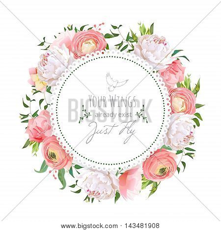 Wedding ranunculus peony rose carnation green plants round vector design frame. White delicate background. All elements are isolated and editable.