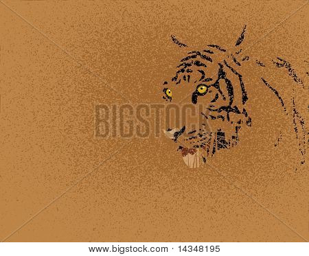Editable vector illustration of a tiger and grunge
