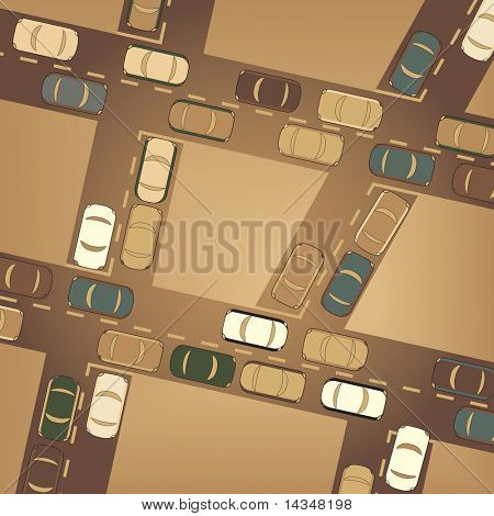 Editable vector illustration of busy car traffic