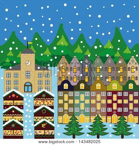 Winter city flat landscape. Colored vector illustration
