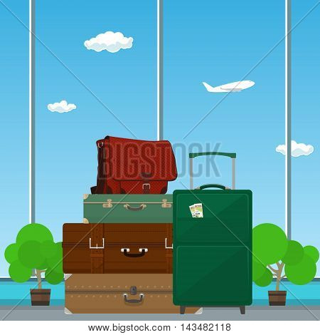 Retro Colored Suitcases and Trolley, Suitcase and Travel Bag against the Window in the Waiting Room at the Airport ,a Luggage Bags for Traveling, Travel and Tourism Concept ,Vector Illustration