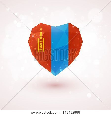 Flag of Mongolia in shape of diamond glass heart in triangulation style for info graphics, greeting card, celebration of Independence Day, printed materialsFlag of Laos in shape of diamond glass heart in triangulation style for info graphics, greeting car