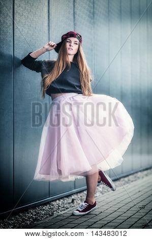 Trendy Beautiful Long Haired Girl Posing, Hip Hop Fashion