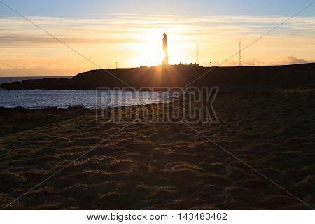 Girdleness Lighthouse in Aberdeen Scotland, United Kingdom