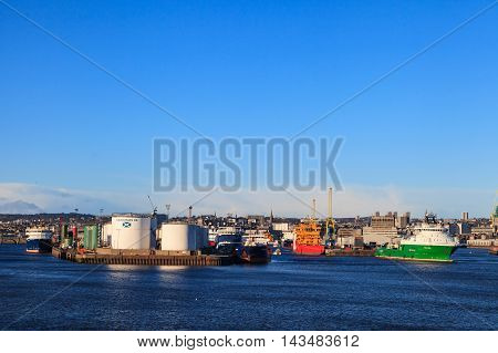 ABERDEEN SCOTLAND - 30 January 2016: Big supply boats in Aberden harbor on 30 January 2016. Aberdeen port is one of the busiest ports in UK.