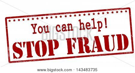 Rubber stamp with text you can help stop fraud inside vector illustration