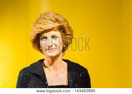 BANGKOK THAILAND - DECEMBER 19: Wax figure of the famous Princess Diana from Madame Tussauds on December 19 2015 in Bangkok Thailand