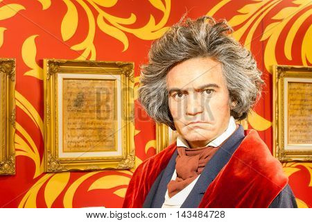 BANGKOK THAILAND - DECEMBER 19: A waxwork of Ludwig van Beethoven on display at Madame Tussauds on December 19 2015 in Bangkok Thailand