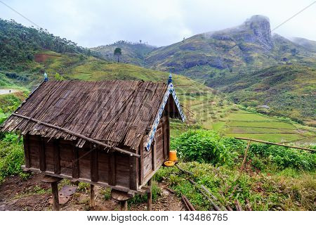Henhouse In The Mountains Of Africa On A Misty Rainy Morning