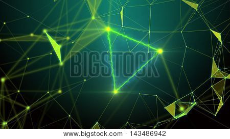 Green plexus and lightning abstract technology and engineering background. Original organic illustration with depth of field settings. More unique plexus illustrations in my portfolio. 3D rendering.