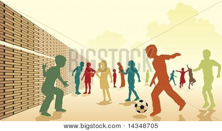 Colorful illustration of children playing football in a playground