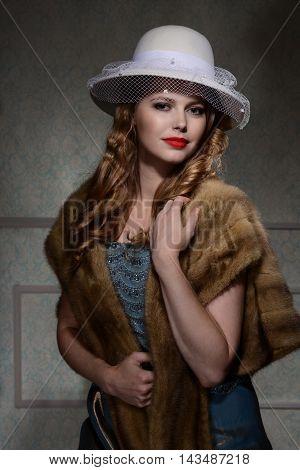 smiling woman portrait 1940s style with fur wrap
