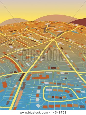 Colorful editable vector illustration of a generic street map and landscape