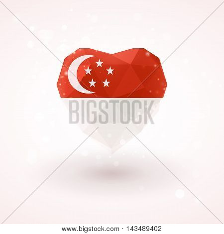 Flag of Singapore in shape of diamond glass heart in triangulation style for info graphics, greeting card, celebration of Independence Day, printed materials