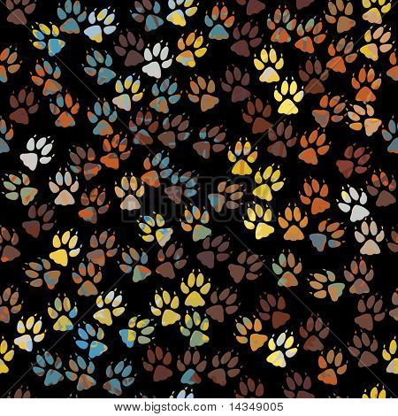 Editable vector seamless tile of colorful dog paw prints