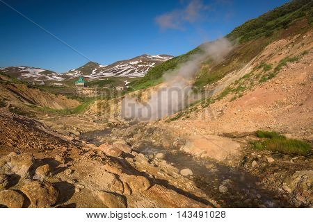 River on the hills of Mutnovsky Volcano, Kamchatka, Russia