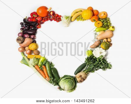 Fruits and vegetables are heart healthy. Heart of vegetables and fruits. The concept of healthy fresh food. Healthy food background