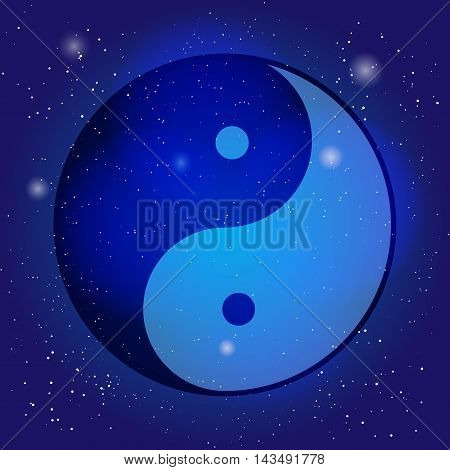 Symbol of yin and yang, the emblem of Taoism on the cosmic universe background. Design for meditation, spiritual geometry