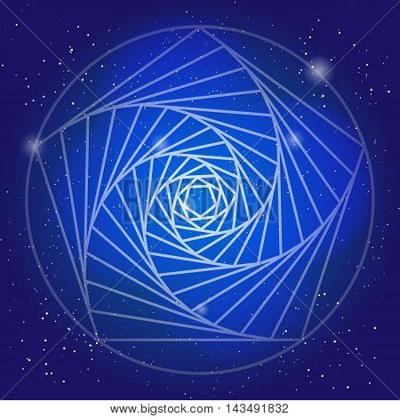 Sacral symbol in the space, on deep blue sky with stars. Spiritual design. The corridor of time in universe